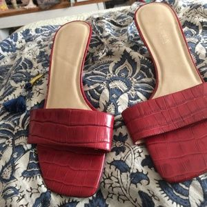 Red Ralph Lauren Faux Croc Slide On Sexy Sexy